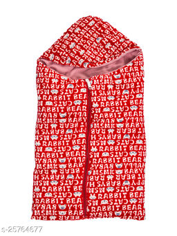 BABYZONE Super Soft AC Blankets Cum Wrapper with Zipper Red Size 69x38