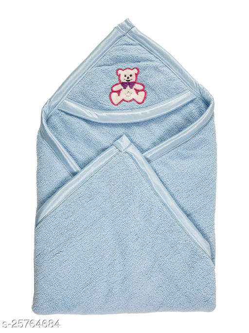 BABYZONE Hooded AC Blanket Cum Wrapper Flenno Bone Sky Size 91x76