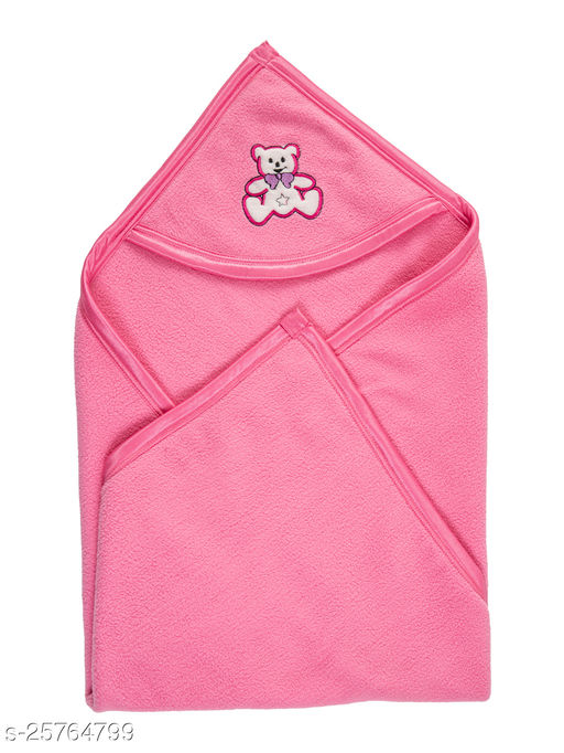 BABYZONE Double Ply Antipilling AC Blanket Cum Wrapper Dark Pink Size 90x79