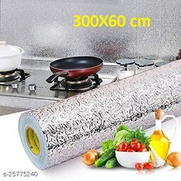 Amar® Oil Proof Self-Adhesive Anti-Mold and Heat Resistant Backsplash Aluminum Foil Stickers/Wallpaper for Kitchen Walls Cabinets Drawers and Shelves, size (60*300) cm