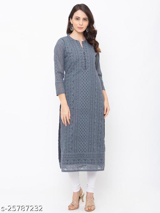ZOLA Grey Exclusive Georgette Lucknowi Chikankari Kurti For Women(220732Grey)