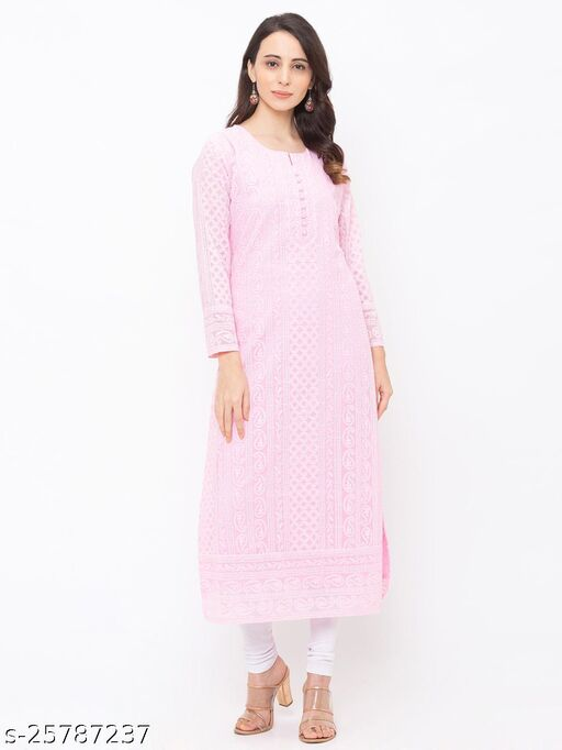 ZOLA Baby Pink Georgette Fabulous Lucknowi Chikankari Kurti For Women(220754BabyPink)