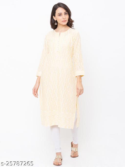 ZOLA Lemon Stunning Cotton Lucknowi Chikankari Kurti For Women(220785Lemon)