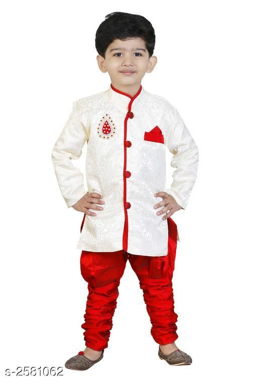 Sherwanis Kid's Boy's Sherwani Set  *Fabric* Art Silk  *Sleeves* Sleeves Are Included  *Size* Age Group (2 - 3 Years) - 20 in Age Group (3 - 4 Years) - 22 in Age Group (4 - 5 Years) - 24 in Age Group (5 - 6 Years) - 26 in Age Group (6 - 7 Years) - 28 in Age Group (7 - 8 Years) - 30 in Age Group (8 - 9 Years) - 30 in  *Type* Stitched  *Description* It Has 1 Piece Of Kid's Sherwani & 1Piece of Kid's Payjama  *Work / Pattern* Printed / Solid  *Sizes Available* 2-3 Years, 3-4 Years, 4-5 Years, 5-6 Years, 6-7 Years, 7-8 Years, 8-9 Years *   Catalog Rating: ★3.5 (23)  Catalog Name: Elegant Kid's Boy's Sherwani Sets Vol 7 CatalogID_348299 C58-SC1172 Code: 883-2581062-
