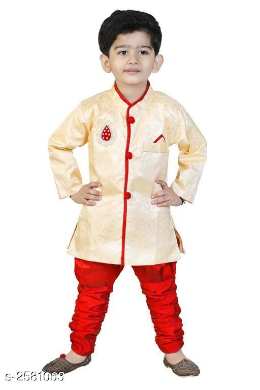 Sherwanis Kid's Boy's Sherwani Set  *Fabric* Art Silk  *Sleeves* Sleeves Are Included  *Size* Age Group (2 - 3 Years) - 20 in Age Group (3 - 4 Years) - 22 in Age Group (4 - 5 Years) - 24 in Age Group (5 - 6 Years) - 26 in Age Group (6 - 7 Years) - 28 in Age Group (7 - 8 Years) - 30 in Age Group (8 - 9 Years) - 30 in  *Type* Stitched  *Description* It Has 1 Piece Of Kid's Sherwani & 1Piece of Kid's Payjama  *Work / Pattern* Printed / Solid  *Sizes Available* 2-3 Years, 3-4 Years, 4-5 Years, 5-6 Years, 6-7 Years, 7-8 Years, 8-9 Years *   Catalog Rating: ★3.5 (23)  Catalog Name: Elegant Kid's Boy's Sherwani Sets Vol 7 CatalogID_348299 C58-SC1172 Code: 883-2581063-