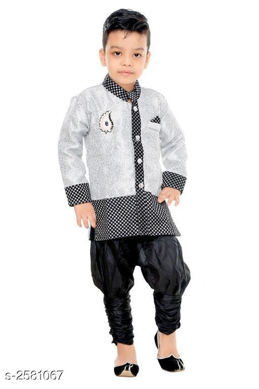 Sherwanis Kid's Boy's Sherwani Set  *Fabric* Art Silk  *Sleeves* Sleeves Are Included  *Size* Age Group (2 - 3 Years) - 20 in Age Group (3 - 4 Years) - 22 in Age Group (4 - 5 Years) - 24 in Age Group (5 - 6 Years) - 26 in Age Group (6 - 7 Years) - 28 in Age Group (7 - 8 Years) - 30 in Age Group (8 - 9 Years) - 30 in  *Type* Stitched  *Description* It Has 1 Piece Of Kid's Sherwani & 1Piece of Kid's Payjama  *Work / Pattern* Printed / Solid  *Sizes Available* 2-3 Years, 3-4 Years, 4-5 Years, 5-6 Years, 6-7 Years, 7-8 Years, 8-9 Years *   Catalog Rating: ★3.5 (23)  Catalog Name: Elegant Kid's Boy's Sherwani Sets Vol 7 CatalogID_348299 C58-SC1172 Code: 334-2581067-