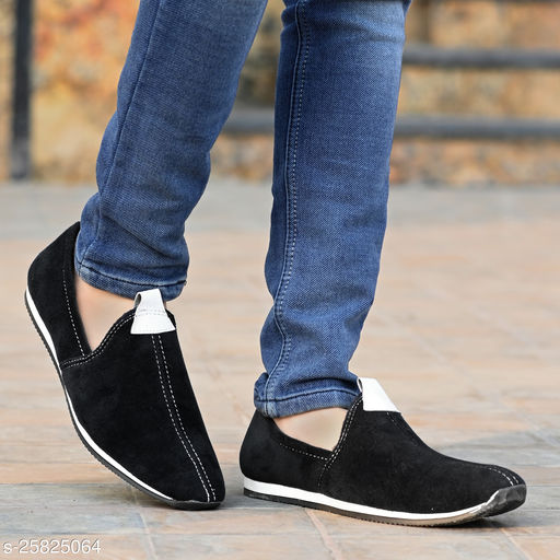 Ray J Suede Nagra Style Black Loafer Shoes For Men