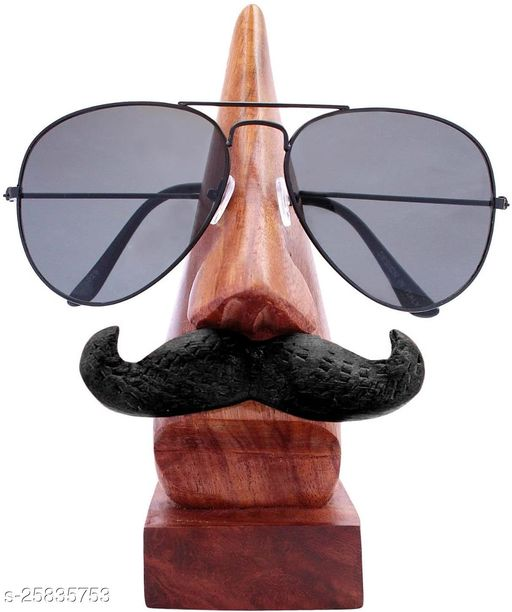 India Wood Mart Handmade Wooden Nose Shaped Spectacle Specs Eyeglass Holder Stand With Moustache