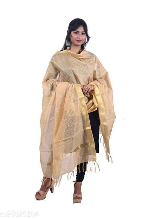 Efara Woman's Golden Color Net Dupatta