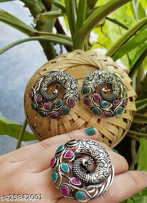 Designer Earrings with Ring Combo for Women and Girls