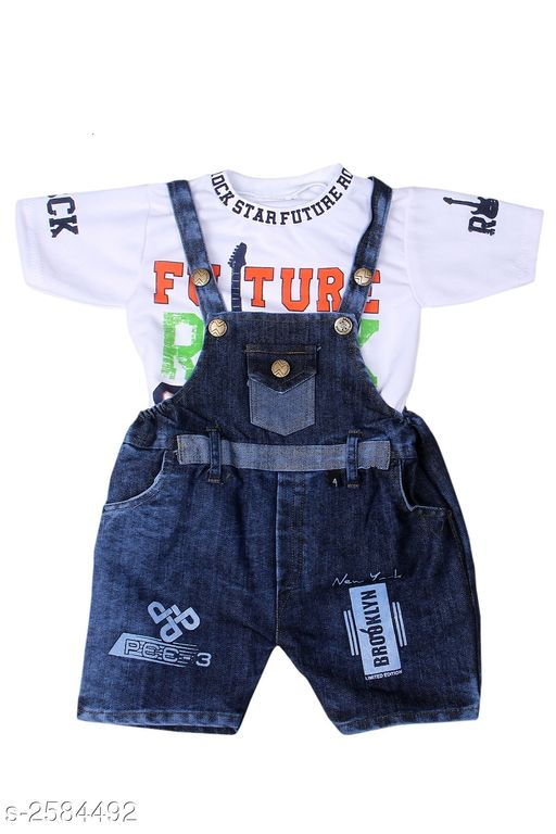 Dungarees Amazing Kid's Dungaree  *Fabric* Cotton  & Denim  *Sleeves* Sleeves Are Included  *Size* Age Group (1 - 2 Years) - 18 in  *Type* Stitched  *Description* It Has 1 Piece Of Kid's Dungaree  *Work* Printed  *Sizes Available* 2-3 Years, 0-3 Months, 0-6 Months, 3-6 Months, 1-2 Years *   Catalog Rating: ★3.5 (8)  Catalog Name: Amazing Kid'S Dungaree'S Vol 10 CatalogID_348772 C62-SC1152 Code: 093-2584492-