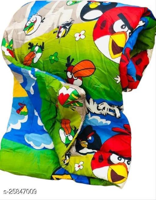 Trendy Unisex Baby Blanket or Quilt (Angree Birds) Green