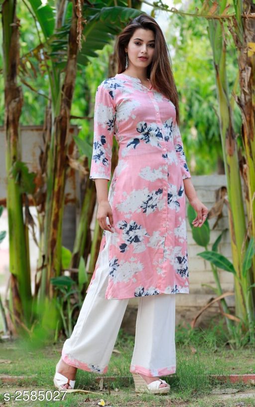 Kurta Sets Women Botanical Printed Kurti  *Fabric* Kurti - Rayon Slub, Palazzo - Rayon Slub   *Sleeves* 3/4 Sleeves Are Included   *Size* Kurti - S - 36 in, M - 38 in, L - 40 in, XL - 42 in, XXL - 44 in Palazzo - S - 28 In, M - 30 in, L - 32 in, XL - 34 in, XXL - 36 in   *Length* Kurti - Up To 46 in, Palazzo - Up To 38 in   *Type* Stitched   *Description* It Has 1 Piece Of Kurti With 1 Piece Of Palazzo   *Work* Kurti & Palazzo - Printed  *Sizes Available* S, M, L, XL, XXL   Catalog Rating: ★4 (97) Supplier Rating: ★4 (3717) SKU: Peach Badal Printed Kurta Palazzo Set Shipping charges: Rs1 (Non-refundable) Pkt. Weight Range: 500  Catalog Name: Women's Printed Rayon Slub Kurta Set with Palazzos - AA Retail Code: 186-2585027--308