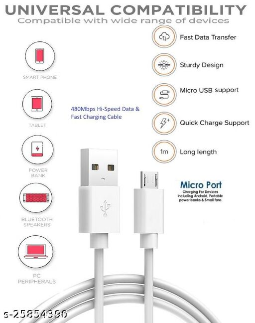 USB Micro-B Fast Charging and High speed Data Trnasfer cable (White)