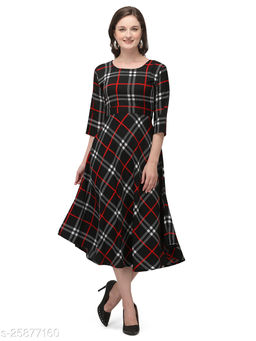 Black and Red Crepe Checked Printed Stitched Gown