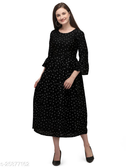 Black Crepe Abstract Printed Stitched Gown
