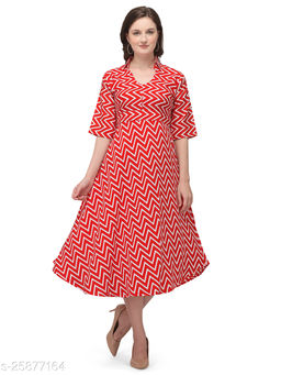 Red Crepe Zig Zag Printed Stitched Gown