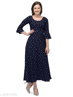 Navy Blue Crepe Abstract Printed Stitched Gown