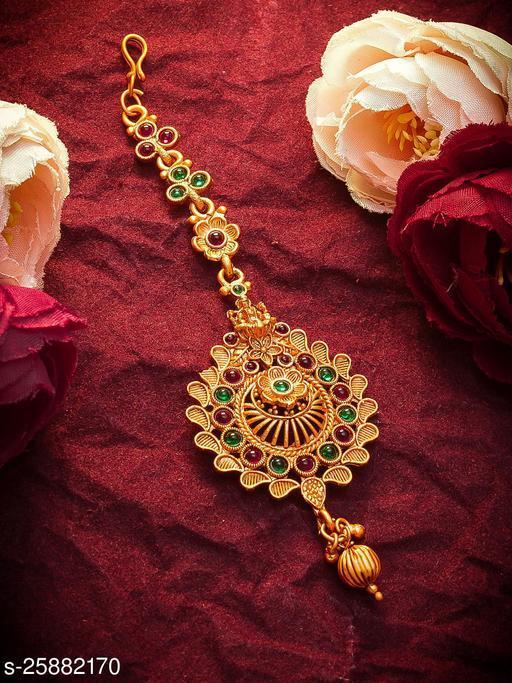 Princess Matte Gold Plated Temple Design MangTikka for Women