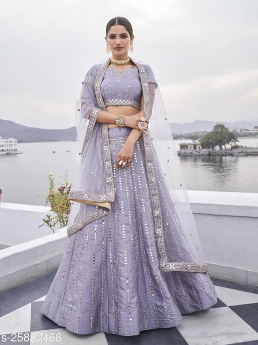 Women's Light Purple Silk Semi Stitched  Lehenga  Choli