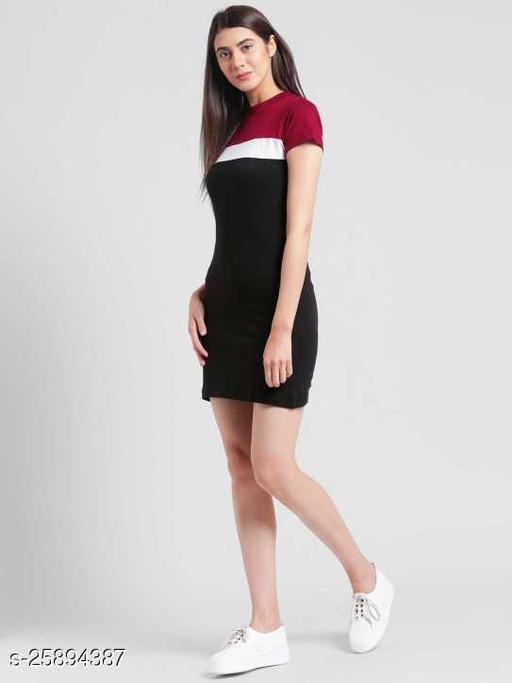 Aksharstore Womens and girls New Short Sleeve round Neck Color Block Bodycon Midi Dress.