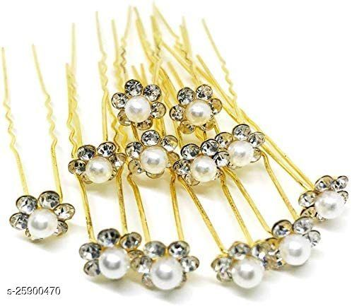 Fancy Golden Juda Pins with Pearl for Women and Girls - Set of 12