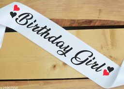 """Style Secrets Shimmering White Satin 4"""" Premium Quality Birthday Girl Sash for Girls and Ladies for Birthday Party"""