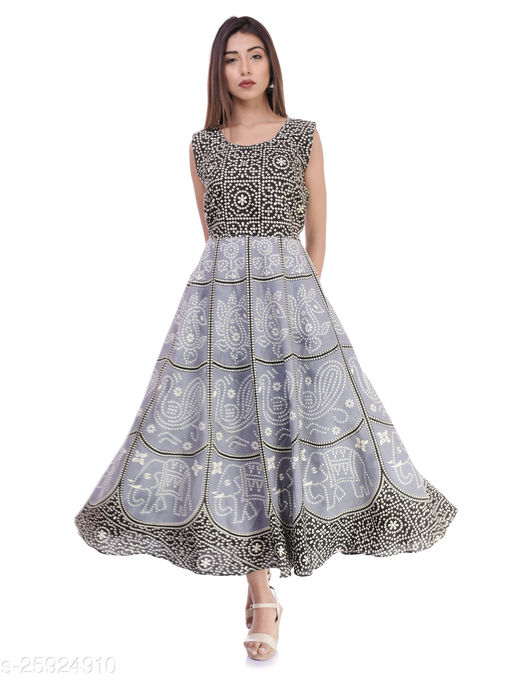 BLACK AND WHITE PRINTED DRESS FOR WOMANS