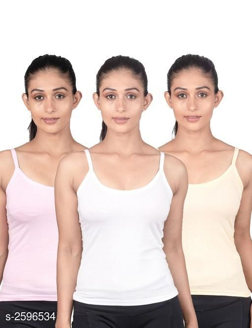 Comfy Women Cotton Fancy Camisole Slip (Pack Of 3)