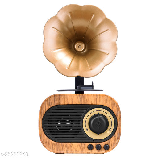 Walrus Gramophone Bluetooth Speaker With 3-6 Hour Playing Time, Built-In Mic, Handsfree Call, Aux Line, Usb Flash Drive, Micro Sd Card, Hd Stereo Sound And Bass