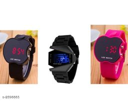 Trendy Rubber Digital Kid's Watches ( Pack Of 3 )