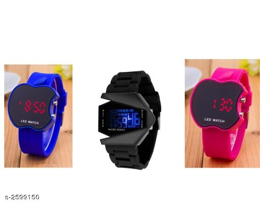 Trendy Rubber Digital Kid's Watches Combo (Pack Of 3)