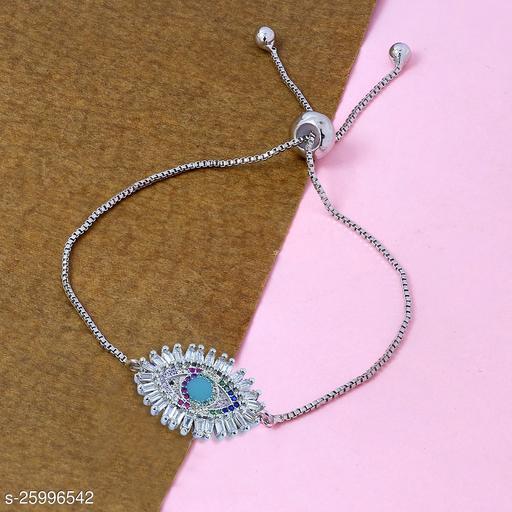 ZIVOM® Turkish Evil Eye Good Luck Cubic Zirconia American Diamond Slider Expandable Adjustable Bracelet Women Girls
