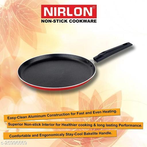Nirlon Non Stick Cookware 4mm Aluminium Dosa Tawa / Roti Tawa / Flat Tawa (Red/Black) Dia 29.5cm