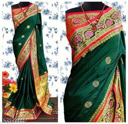 Handi Cotton Silk Saree With Contrast Blouse Piece ( Bottle Green & Red)