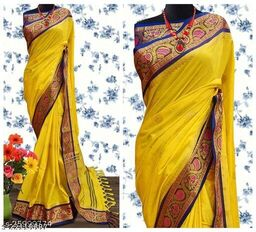 Handi Cotton Silk Saree With Contrast Blouse Piece ( Yellow & Blue)