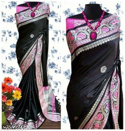 Handi Cotton Silk Saree With Contrast Blouse Piece ( Black & Silver Pink)