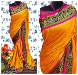 Handi Cotton Silk Saree With Contrast Blouse Piece ( Mango & Pink)