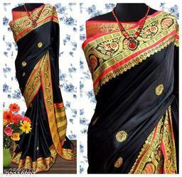 Handi Cotton Silk Saree With Contrast Blouse Piece ( Black & Gold)