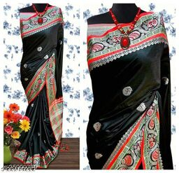 Handi Cotton Silk Saree With Contrast Blouse Piece ( Black & Silver Red)