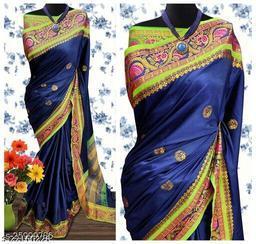 Handi Cotton Silk Saree With Contrast Blouse Piece ( Navy & Neon)