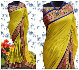 Handi Cotton Silk Saree With Contrast Blouse Piece ( Lemon & Navy)