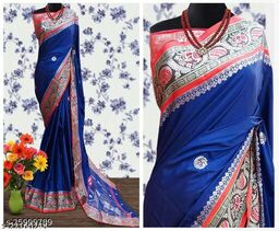 Handi Cotton Silk Saree With Contrast Blouse Piece ( Navy & Red)