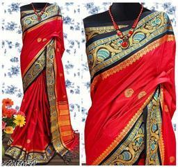 Handi Cotton Silk Saree With Contrast Blouse Piece ( Red & Black)