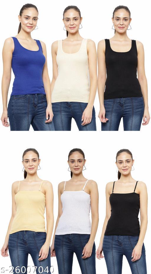 Women Pack of 6 Khaki Cotton Camisoles
