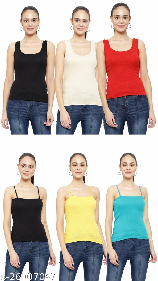 Women Pack of 6 Grey Cotton Camisoles