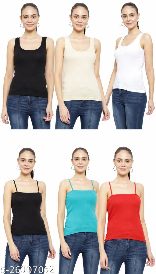 Women Pack of 6 Brown Cotton Camisoles