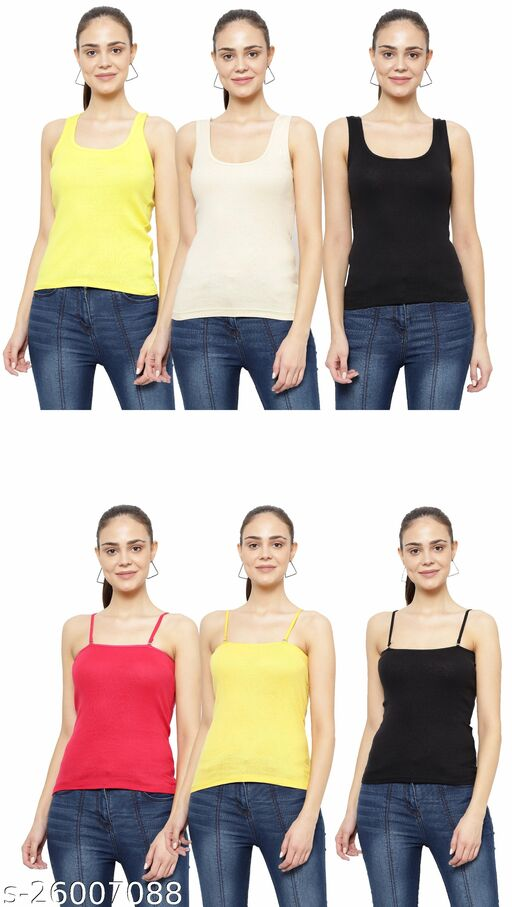 Women Pack of 6 Navy Blue Cotton Camisoles