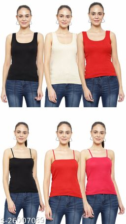 Women Pack of 6 Olive Cotton Camisoles