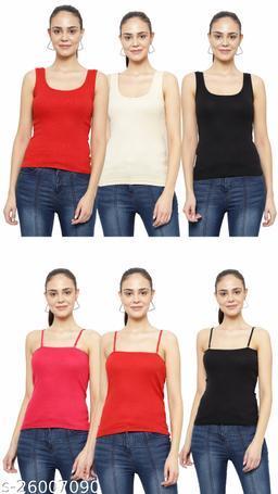 Women Pack of 6 Multicolor Cotton Camisoles